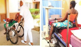 LEFT: Asmau Suleiman being taken into the operating room in this specially constructed wheelchair RIGHT: Radiya being treated for pre-eclampsia. PHOTOS: Adie Vanessa Offiong